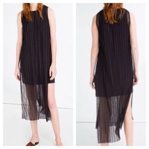 Zara Dresses - Zara Pleated Side Slit Sheer Midi Dress Sz Large
